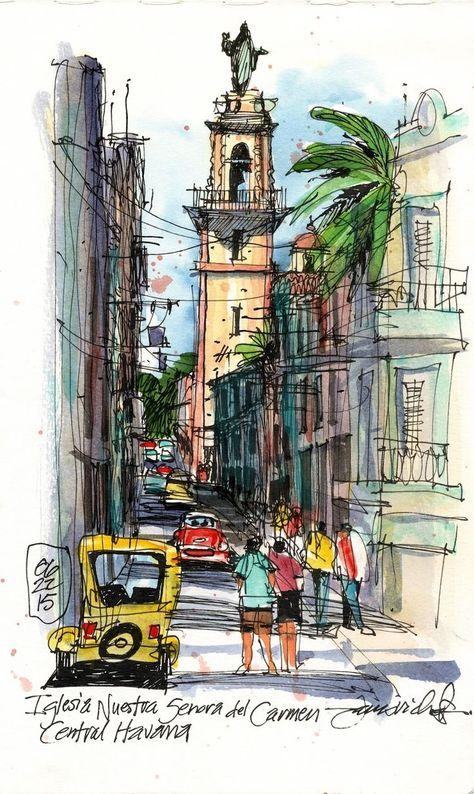 Jim Richards - Exploring Central Havana (Urban Sketchers) #inkdrawing #inkdrawings #penandinkdrawing #worksonpaper #sketchbookdrawing #illustration #urbansketching #dibujo
