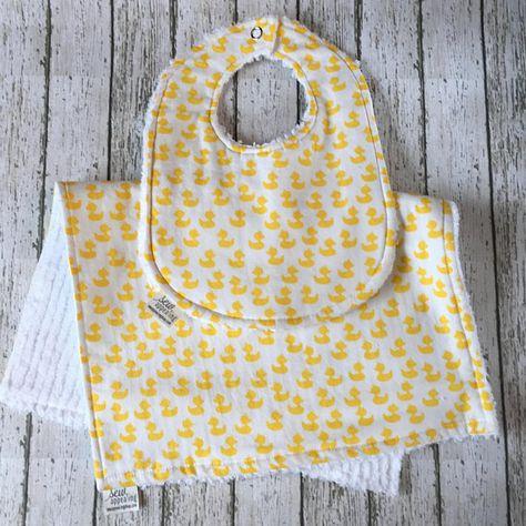 9b5e2d3aa84c Rubber Duck Baby Shower Gifts Newborn Bib Chenille Burp Cloth Set Gender  Neutral Gifts for Baby Gift New Dad Gift Rubber Ducky Rubber Duckie