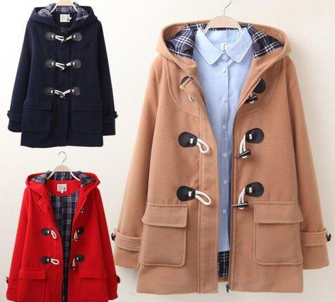 Womens Girls Hooded Duffle Coat Preppy Style Wool Blend