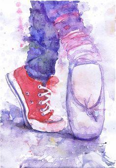 Ballerina Print Ballet Pointe Shoes Watercolour Art by ValrArt