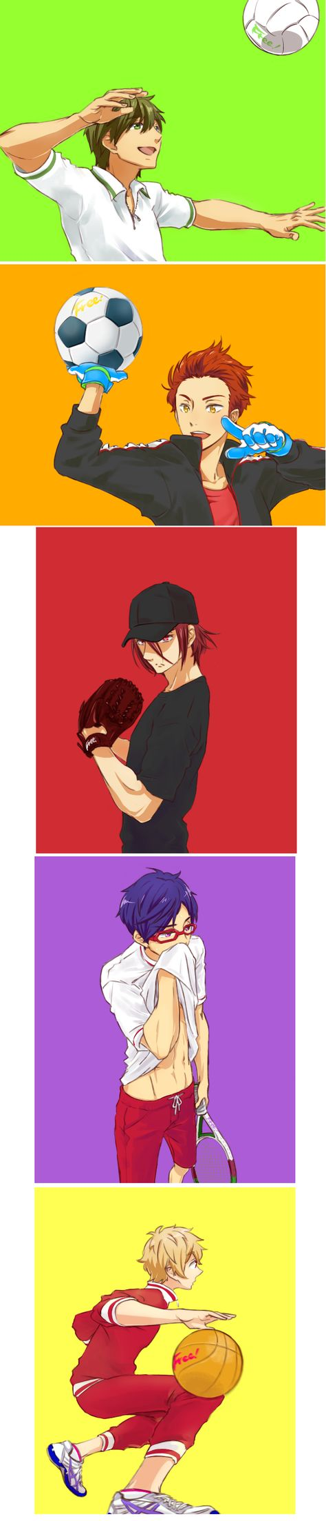 I can totally see all of them playing these other sports. And Haru's still in the pool because he only swims free. XP