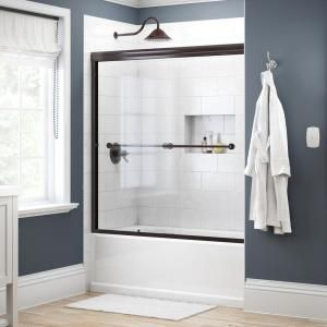 Delta Everly 60 X 59 1 4 In Frameless Mod Soft Close Sliding Bathtub Door In Nickel With 3 8 In 10mm Clear Glass Sd344 In 2020 Bathtub Doors Tub Doors Shower Doors