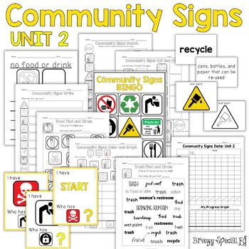 Community Safety Signs Curriculum With Games And Worksheets For Special Education And Life Sk Community Signs Life Skills Special Education Special Education
