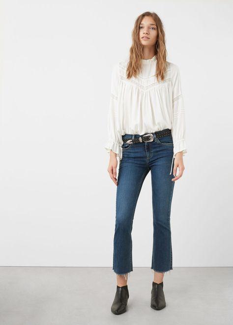 Blusa panel blonda | MANGO