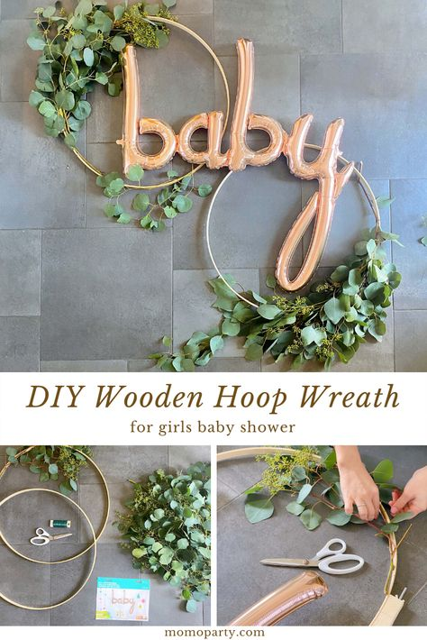 baby shower decorations 617767273872986918 - An elegant wooden hoop wreath with fresh greenery and the rose gold baby script balloon for a baby shower. Check out the link for the the step by step DIY guide! Source by momopartykids Boho Baby Shower, Baby Shower Backdrop, Shower Bebe, Baby Boy Shower, Baby Shower Prize, Baby Shower Roses, Baby Shower Bunting, Elegant Baby Shower, Unique Baby Shower
