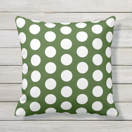 Big White Polka Dots On Forest Green Outdoor Pillow Zazzle Com Outdoor Pillows Green Outdoor Pillows Green Throw Pillows