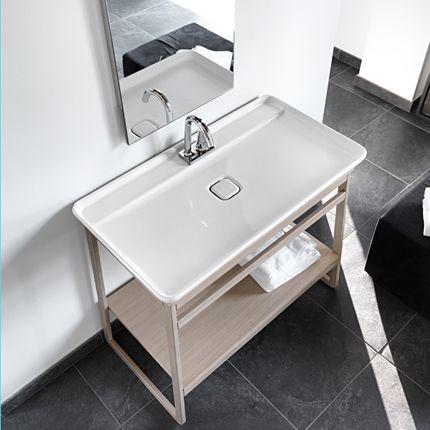 Vasque rectangulaire 98x54 cm NAKED en céramique blanche à poser sur