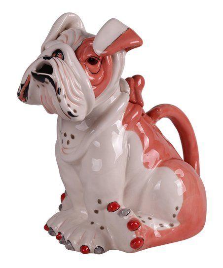 Miniature Ceramic British Bulldog on Harley Motorbike Dog Figurine