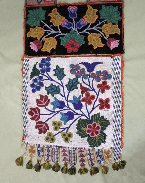 Authentic Antique 19thC Great Lakes Ojibwa American Indian Beaded Bandoleer Bag | eBay