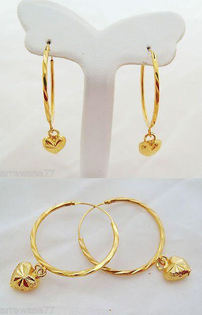 Earrings 98510 22k 23k 24k Thai Baht Yellow Gold Plated Hoops Earrings Jewelry E114 Buy It Now Only Womens Jewelry Bracelets Gold Jewelry Necklace Jewelry