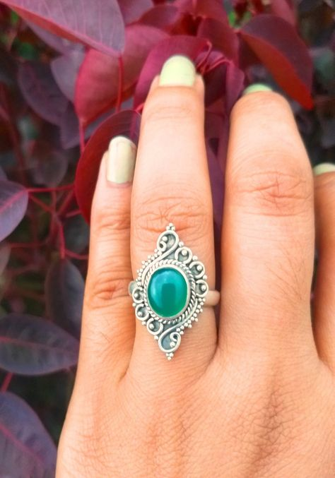 Natural Green Onyx Ring, 925 Sterling Silver Ring,Handmade Ring,December Birthstone Ring,Gift For He
