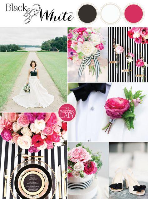 Black, White, and Fuchsia Wedding Palette |Sparkles and Stripes - Kate Spade Wedding Inspiration!