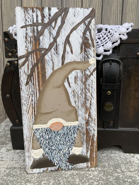 Love how this rustic beige painted winter gnome turned out. The painted branches match so well with the gnome. Christmas Signs Wood, Christmas Gnome, Christmas Art, Wood Craft Patterns, Diy Crafts How To Make, Gnomes, Christmas Paintings, Craft Projects, Vinyl Projects