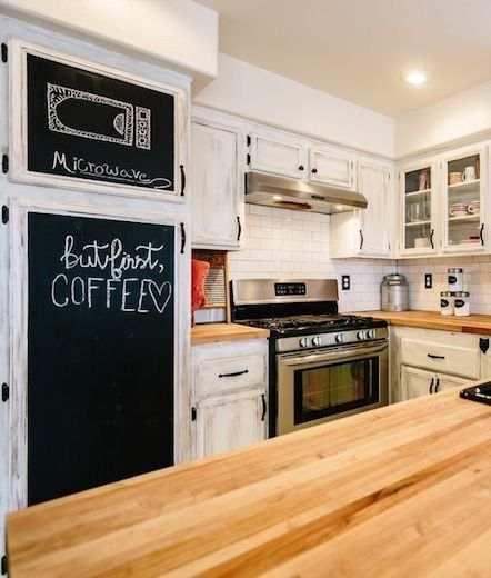 White Kitchen With Chalkboard Paint Cabinets For Writing Notes