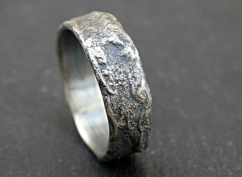 b850c6e6e6faf5 molten silver ring rich structure, mens wedding ring unique, celtic ring  viking, meteorite wedding band men, cool engagement ring // Unique silver  ring with ...