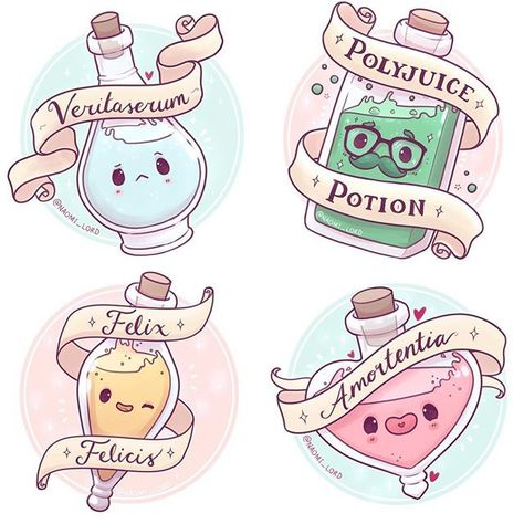 The four potions I've drawn so far :3 ✨✨ which is your favourite? Is there another potion you'd like to see if I did a part two some time?  ~ I should have these all in my Etsy store tomorrow! As prints and stickers ✨ (and this weeks giveaway is now closed and the winner has been messaged) • #potions #amortentia #felixfelicis #polyjuice #veritaserum #lovepotion #cute #kawaii #chibi #instaartist #instaart #instadaily #harrypotter #harrypotterart #hogwarts #potions #witch #witchcraft #illus...
