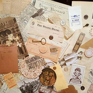 70 junk journaling papers and vintage items