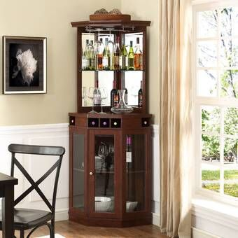 Gabriella Bar Cabinet With Wine Storage Corner Bar Wine Storage