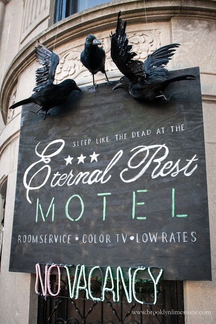 The Motel Hotel Halloween Party 2020 Eternal Rest Motel | Halloween Exterior Decor | Brooklyn Limestone