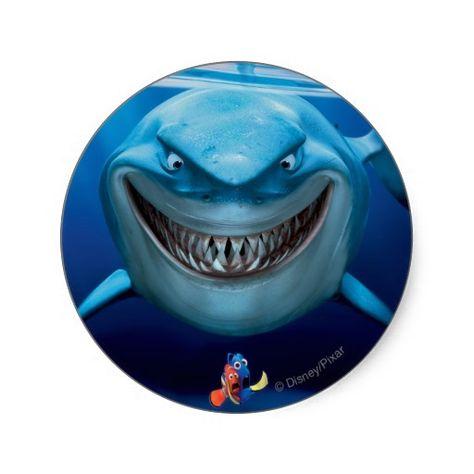 Finding Nemo | Bruce Grinning Classic Round Sticker | Zazzle.com
