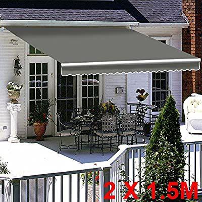 Greenbay Grey Diy Manual Patio Awning Retractable Gazebo Outdoor Canopy Garden Sun Shade 2m X 1 5m Amazon Co Uk Garden Outd In 2020 Outdoor Decor Outdoor Decor