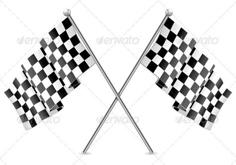 12 CHECKERED 11  X 18 IN FLAGS ON STICK racing flag