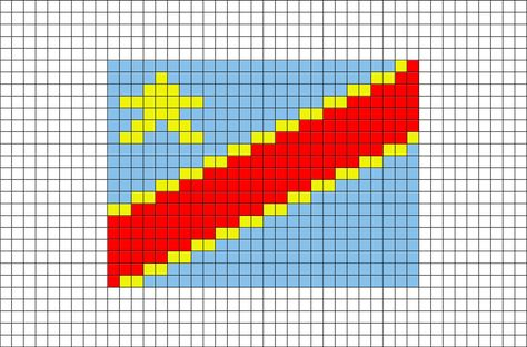 Flag Of Congo Kinshasa Zaire Pixel Art