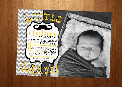 5x7 Little Man Mustache Baby Boy Birth Announcement by SSDdesign, $15.00