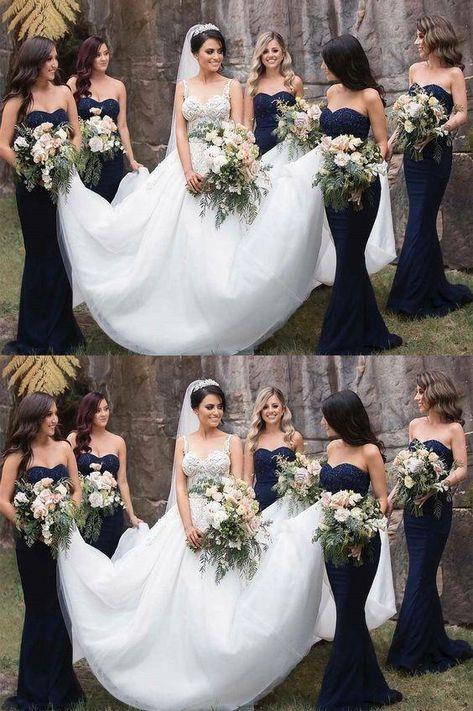 Plus Size Prom Dresses, gorgeous strapless navy blue mermaid long bridesmaid dresses formal dresses Navy Bridal