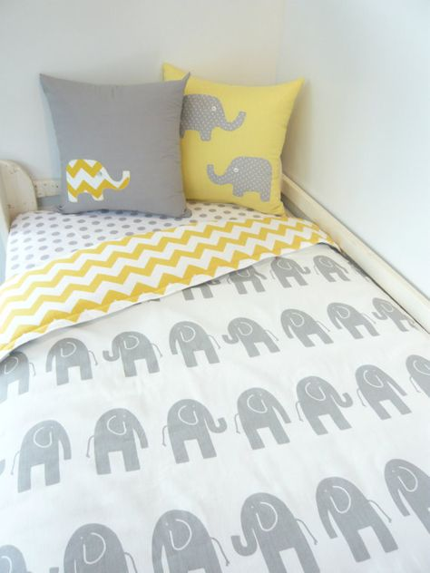 Elephant cot quilt yellow and grey cot set by MamaAndCub on Etsy