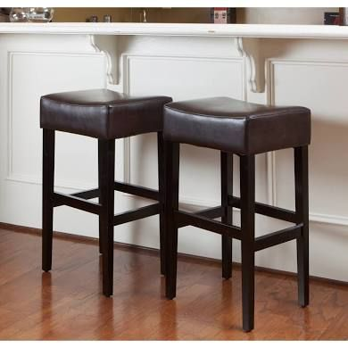 Lopez 30 Inch Brown Leather Backless Bar Stools Set Of 2 By Backless Bar Stools Brown Leather Bar Stools Leather Bar Stools