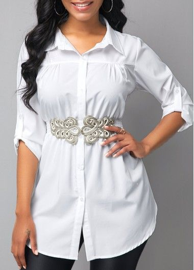 Womens Print Crinkle Blouse With Belt