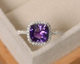 Sterling Silver 1.65ct Amethyst Solitaire Square Ring