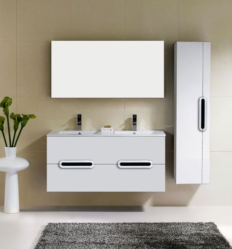 adoos 48 inch double sink white wall mounted bathroom