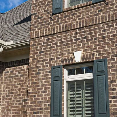 brown brick homes white trim, shutter color too - Bing Images