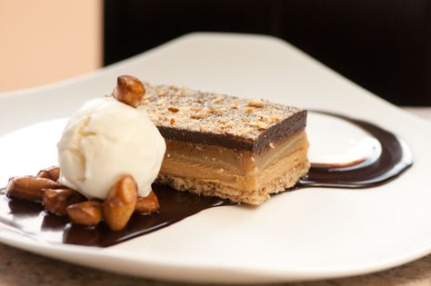 The Candy Bar:  Pretzel Cookie Crust, Peanut Butter Mousse, Caramel, Chocolate Ganache, Vanilla Ice Cream