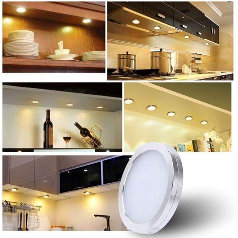 10w 1000lm Led Under Cabinet Lighting Kit Puck Lights Uk