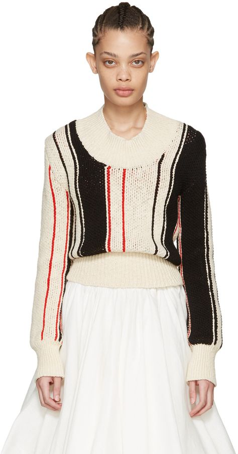 Jw Anderson Off-white Striped Scoop Sweater In Nude