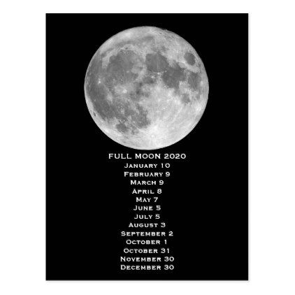 New Moon Sept 2020 Full Moon Phases Calendar 2020 Postcard | Zazzle.| New Year's