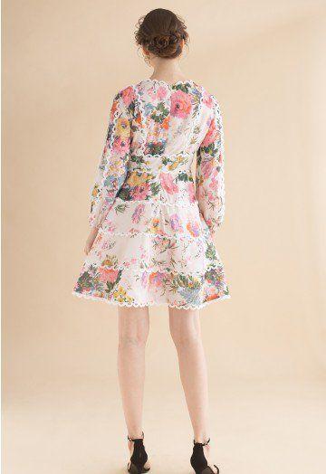 6595c46ddd7 Only In Dreams Floral V-Neck Dress - DRESS - Retro