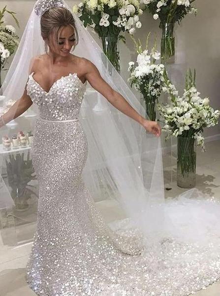 White Sequin Applique Strapless Mermaid Train Wedding Dresses Ab1523 Wedding Dress Sequin Silver Wedding Dress Sweep Train Wedding Dress