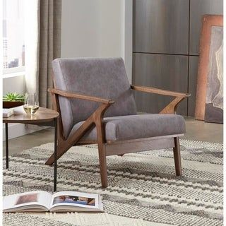 Simple Living Bianca Solid Wood Chair Grey Gray Faux Leather