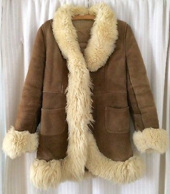 TRUE VINTAGE 70er Wildleder Mantel braun Lammfellkragen