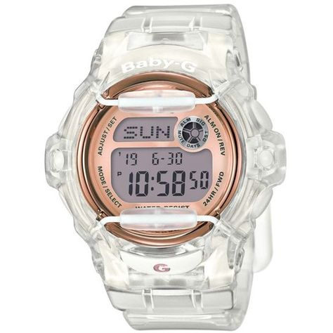 aca56a5d1 Baby-G White Womens Clear Jelly With Rose Gold Face Ana-Digi Watch -...  ($89) ❤ liked on Polyvore featuring jewelry, watches, white, rubber strap  watches, ...
