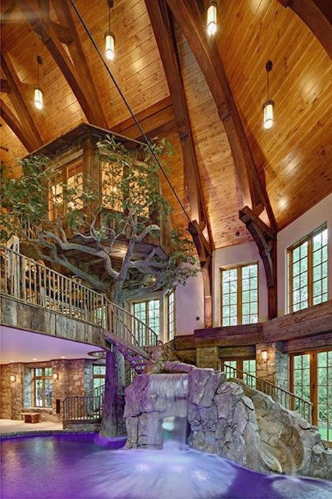 Lakefront Dream Home Lists With Indoor Tree House! (PHOTOS) homes dream house Indoor Tree House, Indoor Trees, Future House, Building A Treehouse, Treehouse Kids, Dream Pools, Cool Pools, Pool Houses, Indoor Pools In Houses