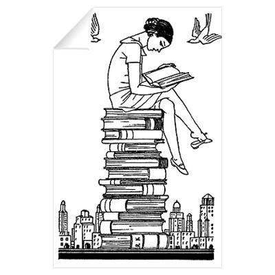 Girl reading atop books Wall Decal; 15
