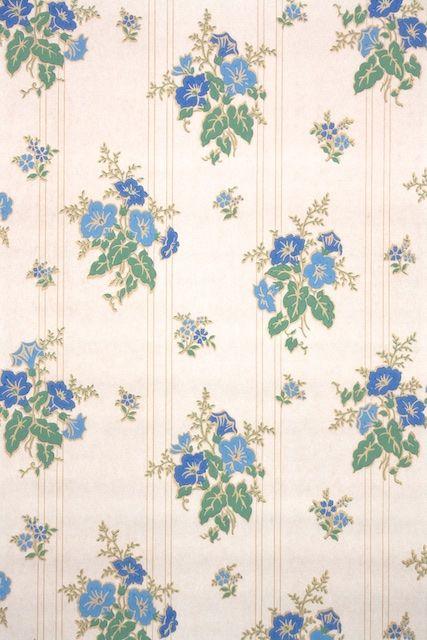 1940s Floral Vintage Wallpaper in 2019 | Antique wallpaper ...