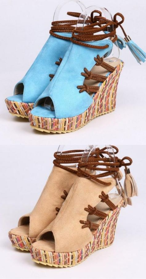 Boho Wedge Heel Sandals | High Heel Ankle Strap Sandals