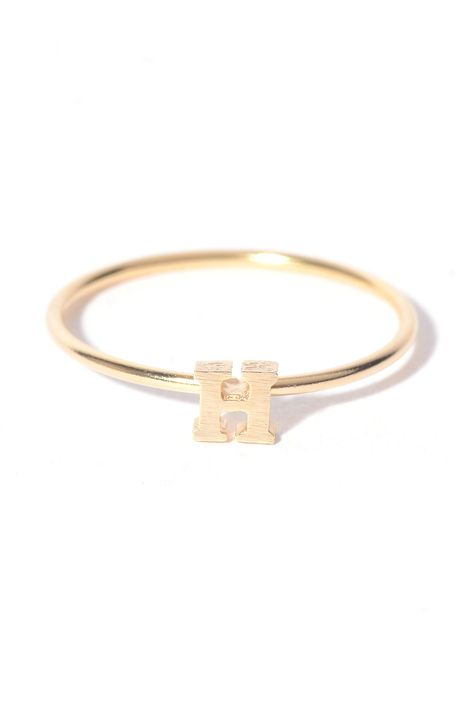 $18 Tiny H Initial Ring in GOLD
