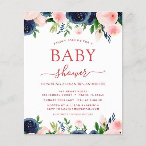 Budget Baby Shower Navy Blue Blush Pink Floral #blushpink #watercolor #floral #botanical #babyshower #flowers #babygirl #babyboy #navyblue #budget